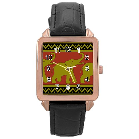 Elephant Pattern Rose Gold Leather Watch