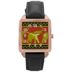 Elephant Pattern Rose Gold Leather Watch  Front