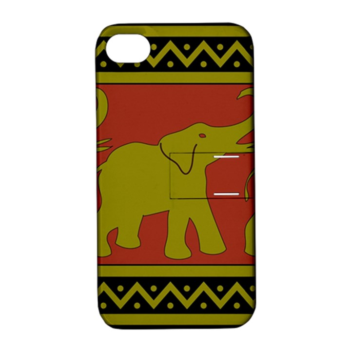 Elephant Pattern Apple iPhone 4/4S Hardshell Case with Stand