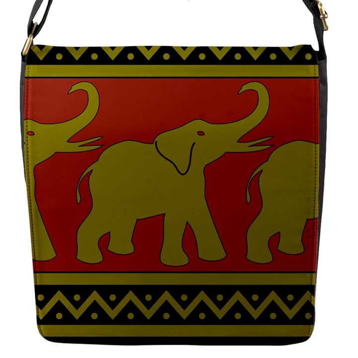 Elephant Pattern Flap Messenger Bag (S)