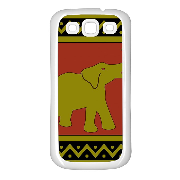 Elephant Pattern Samsung Galaxy S3 Back Case (White)