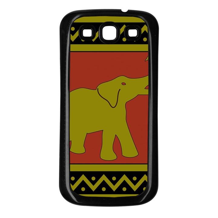 Elephant Pattern Samsung Galaxy S3 Back Case (Black)