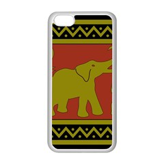 Elephant Pattern Apple iPhone 5C Seamless Case (White)