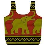 Elephant Pattern Full Print Recycle Bags (L)  Back