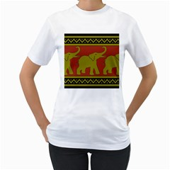 Elephant Pattern Women s T-Shirt (White)