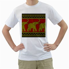 Elephant Pattern Men s T-Shirt (White)