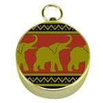 Elephant Pattern Gold Compasses Front
