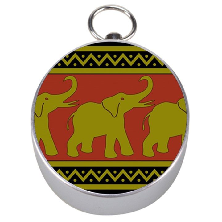 Elephant Pattern Silver Compasses