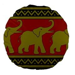 Elephant Pattern Large 18  Premium Flano Round Cushions