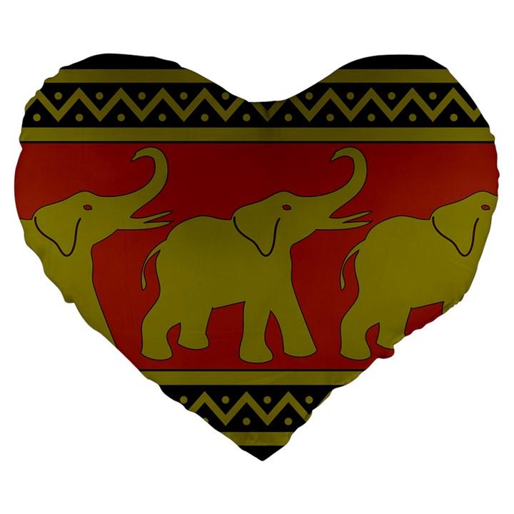Elephant Pattern Large 19  Premium Flano Heart Shape Cushions