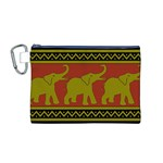 Elephant Pattern Canvas Cosmetic Bag (M) Front