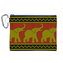 Elephant Pattern Canvas Cosmetic Bag (XL)
