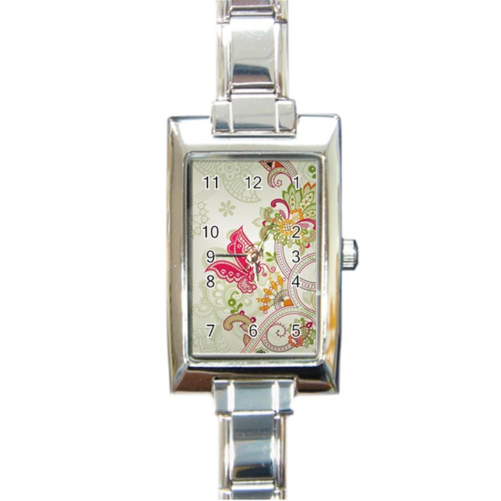 Floral Pattern Background Rectangle Italian Charm Watch