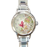 Floral Pattern Background Round Italian Charm Watch Front