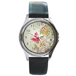 Floral Pattern Background Round Metal Watch Front