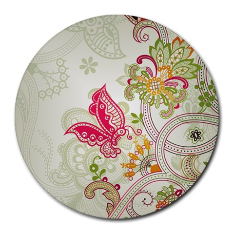 Floral Pattern Background Round Mousepads