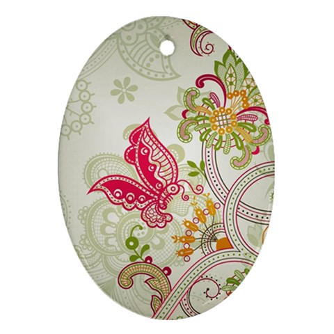 Floral Pattern Background Ornament (Oval)