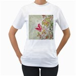 Floral Pattern Background Women s T-Shirt (White) (Two Sided) Front