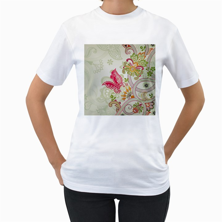 Floral Pattern Background Women s T-Shirt (White) (Two Sided)