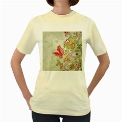 Floral Pattern Background Women s Yellow T-Shirt