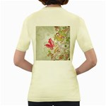 Floral Pattern Background Women s Yellow T-Shirt Back