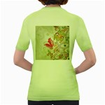 Floral Pattern Background Women s Green T-Shirt Back