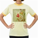Floral Pattern Background Women s Fitted Ringer T-Shirts Front