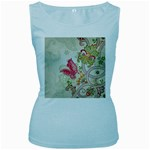 Floral Pattern Background Women s Baby Blue Tank Top Front