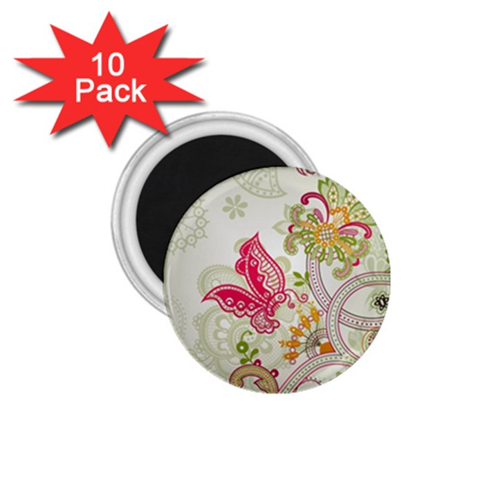 Floral Pattern Background 1.75  Magnets (10 pack)