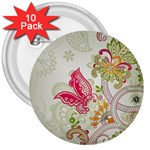 Floral Pattern Background 3  Buttons (10 pack)  Front