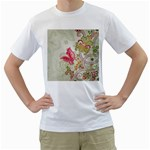 Floral Pattern Background Men s T-Shirt (White) (Two Sided) Front