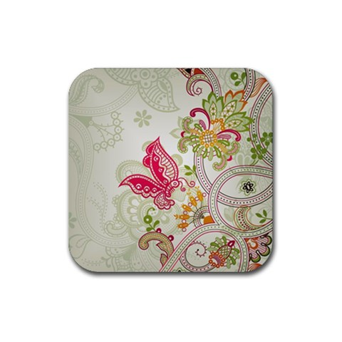 Floral Pattern Background Rubber Coaster (Square)