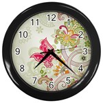 Floral Pattern Background Wall Clocks (Black) Front