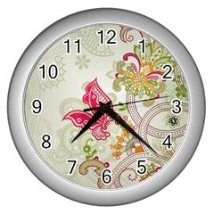 Floral Pattern Background Wall Clocks (Silver)
