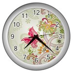 Floral Pattern Background Wall Clocks (Silver)  Front