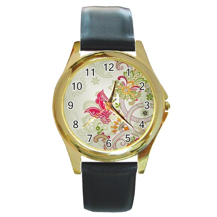Floral Pattern Background Round Gold Metal Watch