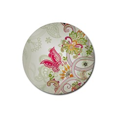 Floral Pattern Background Rubber Round Coaster (4 pack)
