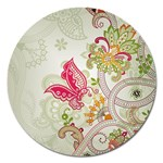 Floral Pattern Background Magnet 5  (Round) Front