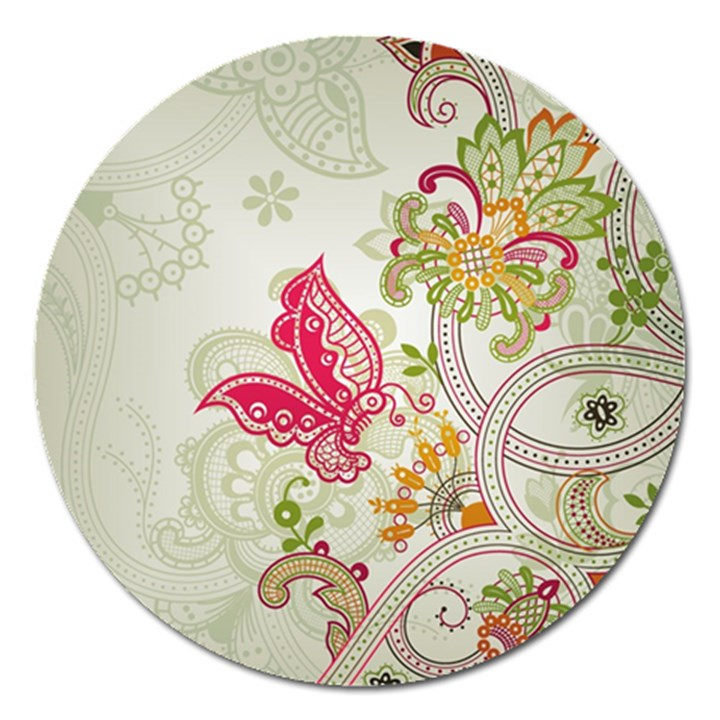 Floral Pattern Background Magnet 5  (Round)