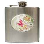 Floral Pattern Background Hip Flask (6 oz) Front