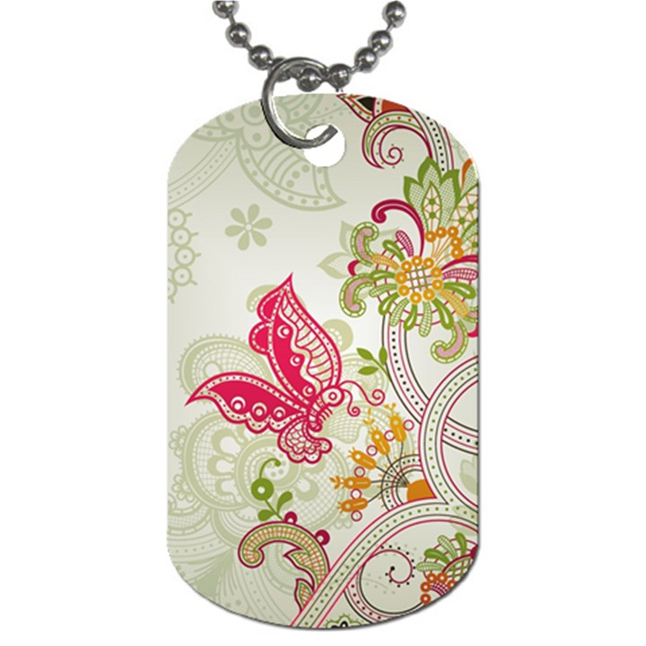 Floral Pattern Background Dog Tag (Two Sides)