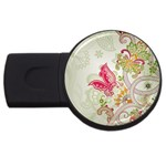 Floral Pattern Background USB Flash Drive Round (2 GB)  Front