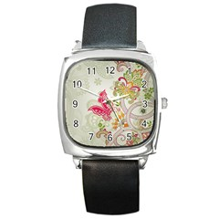 Floral Pattern Background Square Metal Watch