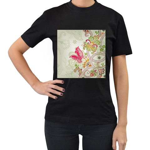 Floral Pattern Background Women s T-Shirt (Black) (Two Sided)