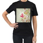 Floral Pattern Background Women s T-Shirt (Black) (Two Sided) Front