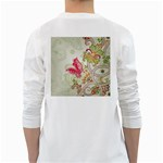Floral Pattern Background White Long Sleeve T-Shirts Back