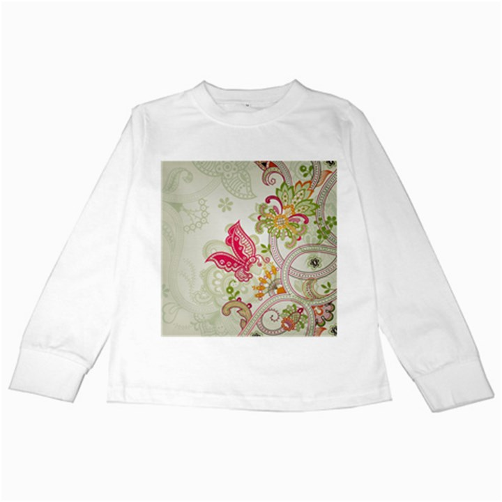 Floral Pattern Background Kids Long Sleeve T-Shirts