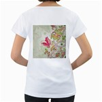 Floral Pattern Background Women s Loose-Fit T-Shirt (White) Back