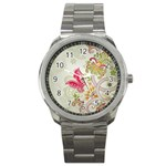 Floral Pattern Background Sport Metal Watch Front