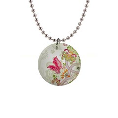 Floral Pattern Background Button Necklaces